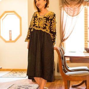 Dresses & Skirts - Black Embroidered Smock, A-Line Dress